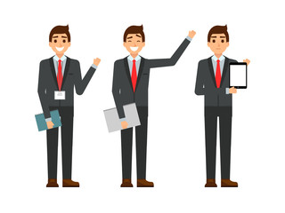 funny cartoon guy in the suit, gesturing. Set of businessman characters point and showing at tablet computer. Happy youg people smiling. Flat design.