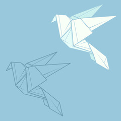 Set illustration paper origami of dove.