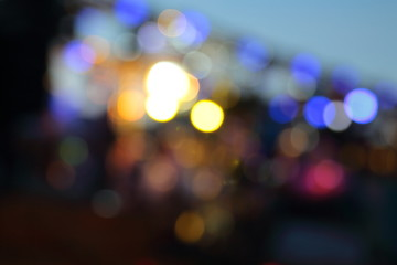 Bokeh from the lights at night and blurry