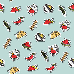 Colored Indian food concept pattern