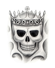 King skull tattoo. Hand pencil drawing on paper.