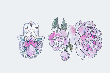 Sketch of Peony and Hamsa on white background.