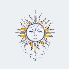 Sketch of the sun with a smile on a white background.