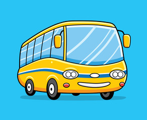 Yellow cartoon bus.
