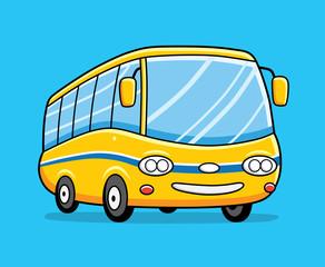Yellow cartoon bus.