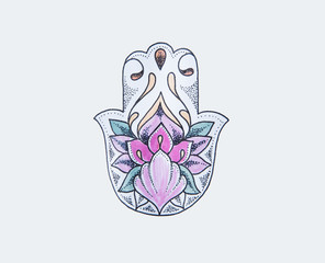 Sketch of hamsa with flowers on a white background.