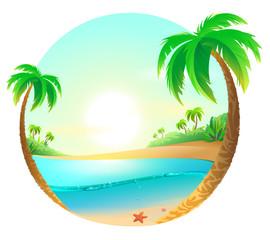 Tropical beach among palm trees