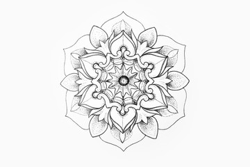 Sketch of a beautiful mandala on a white background.
