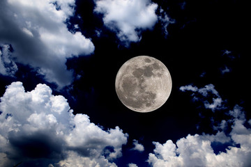 big moon blue sky night clouds background supermoon