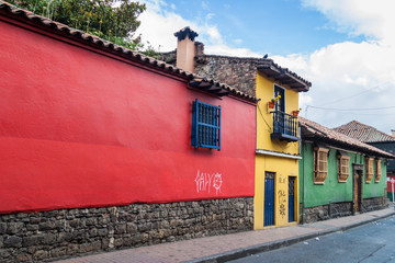 Colorful houses in the center of Bogota, La Candelaria neighborhood.