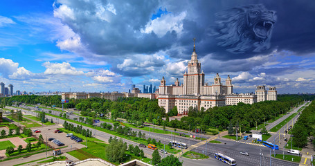 Conceptual view of power of knowledge helping to monetise solar cell energy: lion head in dramatic clouds over panoramic view of Moscow University skyscraper
