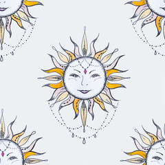 Seamless pattern of a smiling sun on a white background.