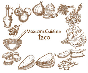Taco, ingredients of the food