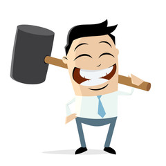 happy businessman with big hammer clipart