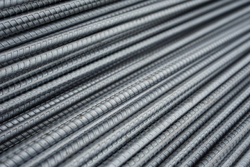 Steel bars use for reinforce concrete, steel rods texture for background