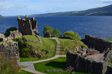Ruins of Urquhart Castle Beside Loch Ness in Scotland