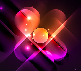 Vector glowing geometric shapes background