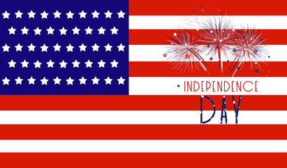 USA independence day celebration background with flag and fireworks