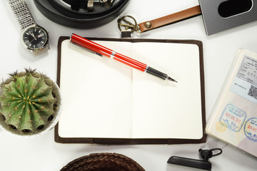 A blank end page notebook, stamps in the passport, business and travel concept