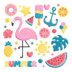 Summer beach elements collection. Balloons set. Flamingo, ice cream, watermelon, sun, monstera, pineapple. Vector illustration