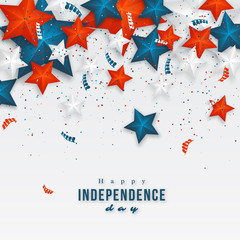 USA independence day. Holiday background with 3d stars and confetti. Vector illustration.