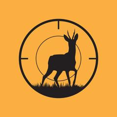 Deer silhouette with target symbol.