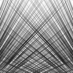 Grid, mesh of dynamic irregular lines. Abstract geometric trellis, grill texture