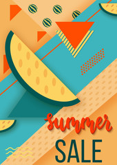 Sale summer background or poster in trendy 80s-90s memphis style with geometric patterns, palms, watermelons and shapes. Vector colorful vertical illustration