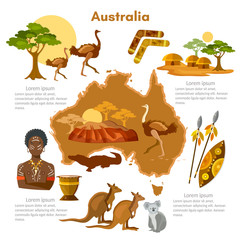 Australia infographics. sights, culture, australian traditions, map, people. Australia template elements