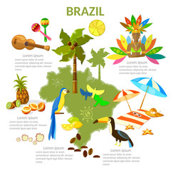 Brazil infographics. sights, culture, traditions, map, brazilian people. Travel Brazil template elements