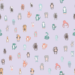 Cute cartoon animal characters. Seamless pattern on violet background, vector illustration in simple style.