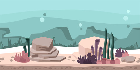 Seamless unending background for arcade game or animation. Underwater world with rocks, seaweed and coral. Vector illustration, parallax ready.