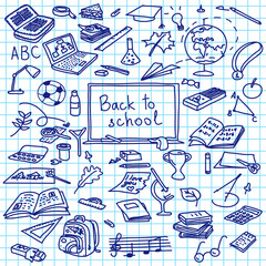 back to school, hand drawn silhouettes on squared paper, sketch, doodle, vector