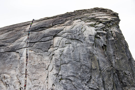 Climbing up the cables to Half Dome in Yosemite National Park