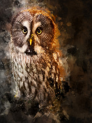 Watercolor Illustration Of A Majestic Great Grey Owl Bird