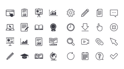 Set of Statistics, Education and Study icons. Presentation, Report and Book signs. Analytics, Pencil and Award medal symbols. Calendar, Document and Download line signs. Vector