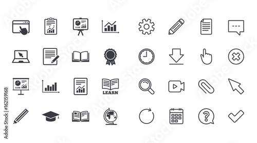 set of statistics education and study icons presentation report