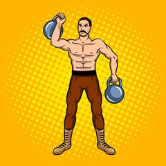 Circus strongman with dumbbell pop art vector