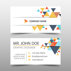 Colorful triangle corporate business card, name card template ,horizontal simple clean layout design template , Business banner template for website