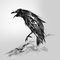 the painted bird is a raven sitting on a branch