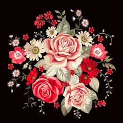 Bouquet with pale roses and red flowers in vintage style