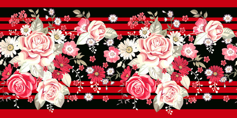 Seamless border with pale roses and red flowers on red background
