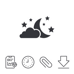 Moon, clouds and stars icon. Sleep dreams symbol. Night or bed time sign. Report, Time and Download line signs. Paper Clip linear icon. Vector