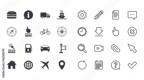 Set Of Navigation And Gps Icons Windrose Compass And Burger - Car signs and symbols
