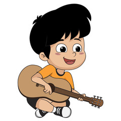 The kid played guitar. The music makes kids concentrate and help to the potent drugs.