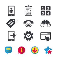 Phone icons. Smartphone video call sign. Call center support symbol. Cellphone keyboard symbol. Browser window, Report and Service signs. Binoculars, Information and Download icons. Stars and Chat