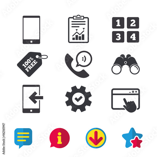 Phone Icons Smartphone Incoming Call Sign Call Center Support
