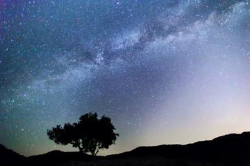Fotobehang Afrika Milky Way over the Meteora, Greece