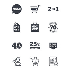 Sale discounts icon. Shopping cart, coupon and low price signs. 25, 40 and 60 percent off. Special offer symbols. Customer service, Shopping cart and Report line signs. Online shopping and Statistics