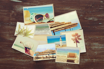 top view of tropical photo collage on wooden background